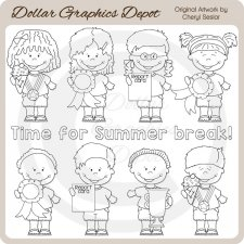 End Of Year Kids - Digital Stamps