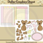 Baby Girl Bears - Paper Piecing & Card Set - Printables
