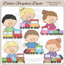 I Love Trains - Clip Art - *DGD Exclusive*