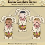 Easter Bunny Kids - Clip Art