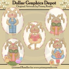 Whimsy Bunnies - Ovals - Clip Art