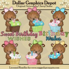 Bailey Bear Loves Cupcakes - Clip Art
