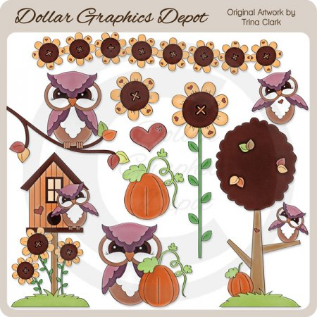 Autumn Owls 1 - Clip Art