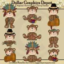 Little Pilgrim Bears - Clip Art - *DGD Exclusive*