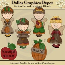 Harvest Time Angels - Clip Art - *DGD Exclusive*