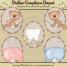 Tooth Fairy Bears - Ovals - Clip Art