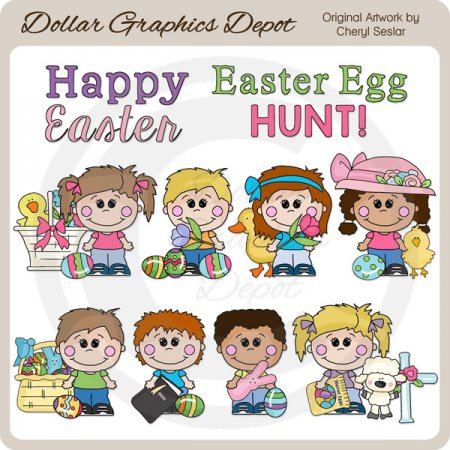 Happy Kids - Easter Sunday - Clip Art