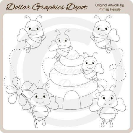 Cutie Bees - Digital Stamps