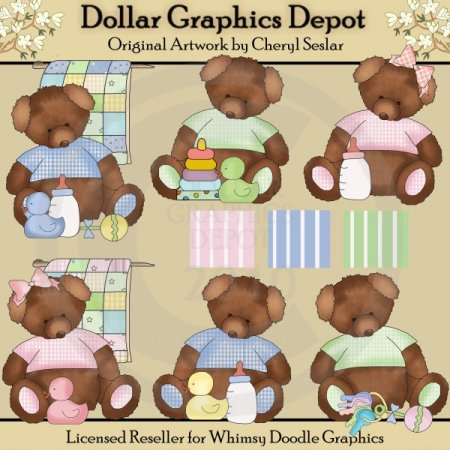 Tattered Baby Teddies - Clip Art