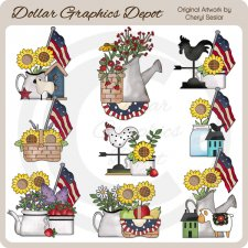 Americana Sunflowers - Clip Art