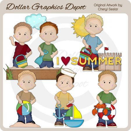 Oliver Loves Summer - Clip Art