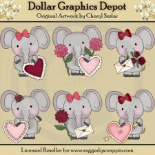 Little Elephant Valentines - Clip Art