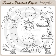 Thanksgiving Munchkins - Digital Stamps