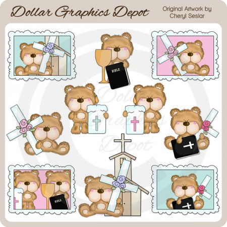 Fluffington Bear Loves Jesus - Clip Art