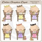 High Chair Toddler Girls - Clip Art - *DGD Exclusive*