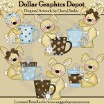 Raggedy Bunnies - Hot Chocolate - Clip Art