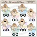Baby Monkey Carriages - Clip Art