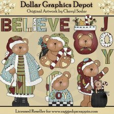 Christmas Bumpkin Bears - Clip Art