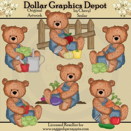 Overall Teddies - In The Garden - Clip Art