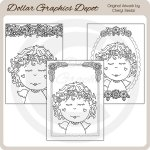 Pretty Angels - Coloring Cards