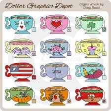 Seasonal Teacups - Clip Art