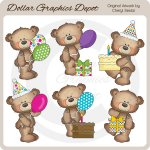 Button Bears - Birthday - Clip Art