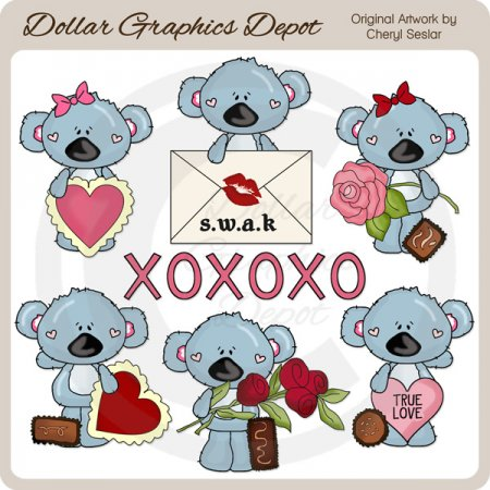 Koala Cuties - Hugs and Kisses - Clip Art