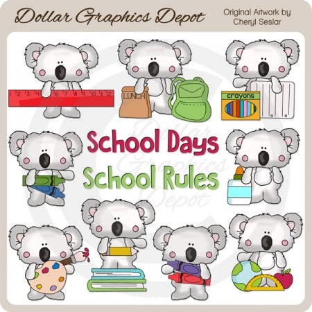 Little Koala - School Days - Clip Art - *DCS Exclusive*