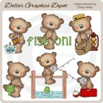 Button Bears - Fishing - Clip Art