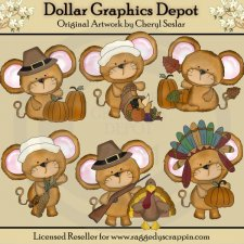 Little Mouse Thanksgiving - Clip Art