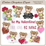 Fluffy Valentine Bears - Clip Art - *DGD Exclusive*