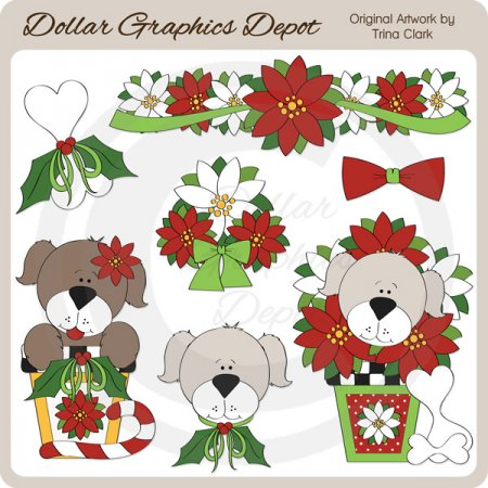 Yuletide Puppies 2 - Clip Art
