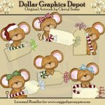 Little Mouse Christmas Tags - Clip Art