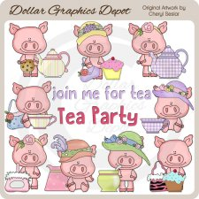 Little Tea Party Pigs - Clip Art - *DGD Exclusive*