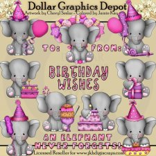 Baby Elephant - Birthday Girls - Clip Art