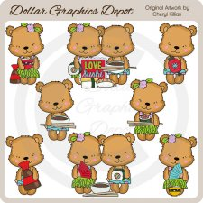 Tropical Bears - Sushi Night - Clip Art - *DGD Exclusive*