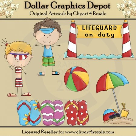 Beach Kids - Clip Art - *DGD Exclusive*