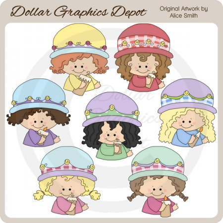 Girls 'n' Candles - Clip Art