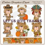 Freddy and Fran Bears - Thanksgiving - Clip Art
