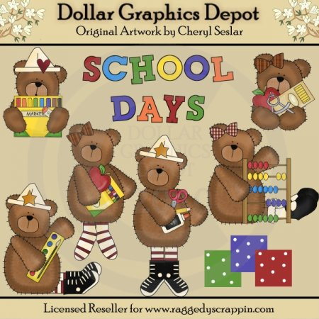 Cute Little School Bears - Clip Art - *DGD Exclusive*