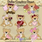 Sweet Stuffins - Valentine Bears - Clip Art