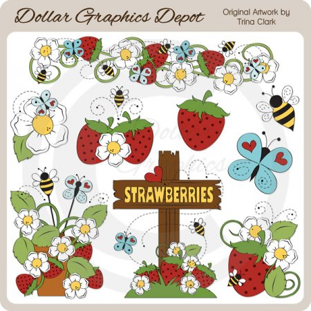 Bugs and Berries - Clip Art
