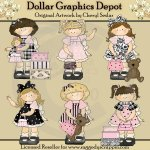 Toddler Girls - Pretty In Pink - Clip Art