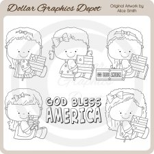 God Bless America - Digital Stamps