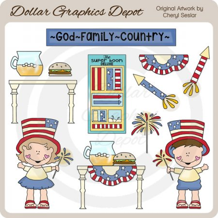 Fourth of July Celebration - Clip Art
