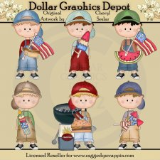 Dougy's Fourth of July - Clip Art
