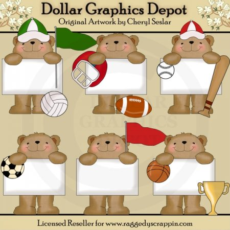 Bulletin Bears - All Stars - Clip Art