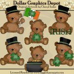 Tattered Teddies - Irish Bears - Clip Art