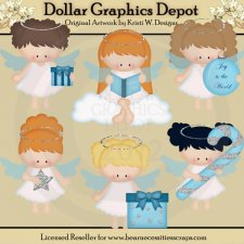 Pretty Christmas Angels - Clip Art - *DGD Exclusive*