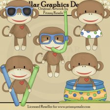Pool Party Sock Monkeys - Boys - Clip Art